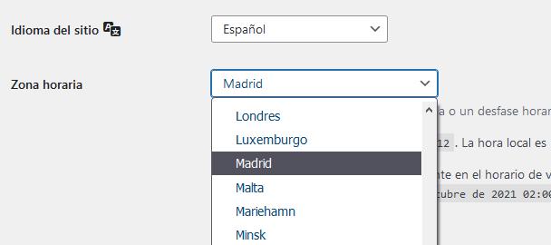 Zona horaria de Europa / Madrid.