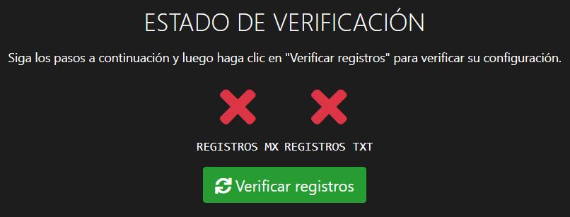 Los registros están pendientes de verificación.